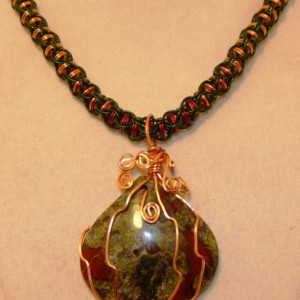 Bloodstone captive chainmaille necklace