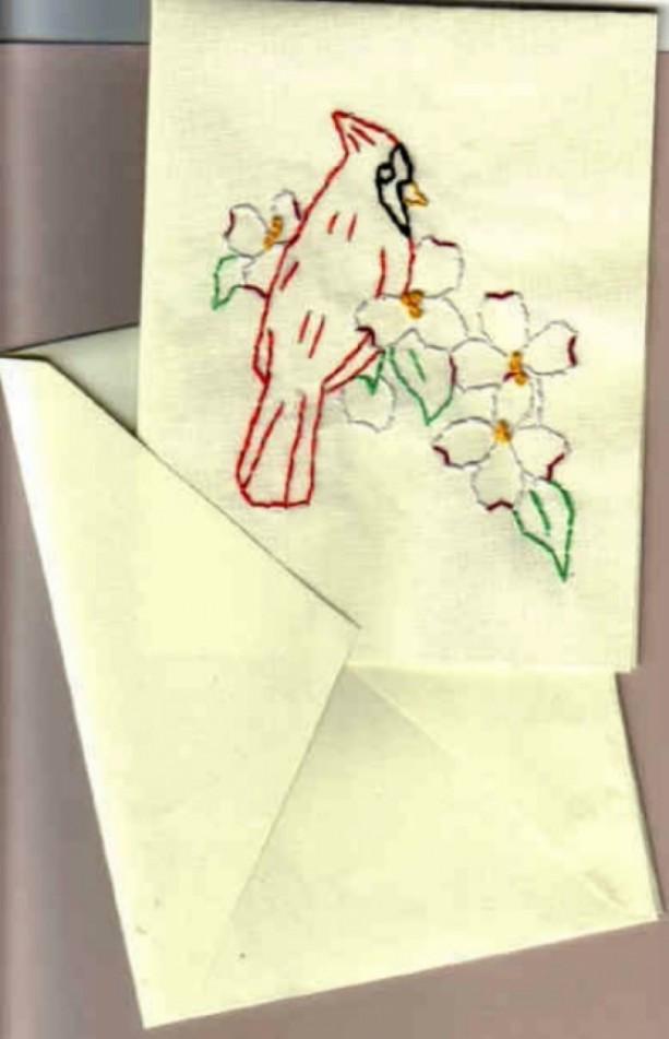 Embroidered Red Cardinal Bird Greeting Card Set