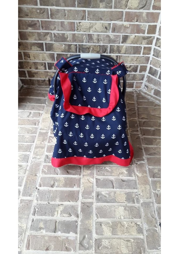 Nautical Navy and Red Carseat Canopy with Peephole