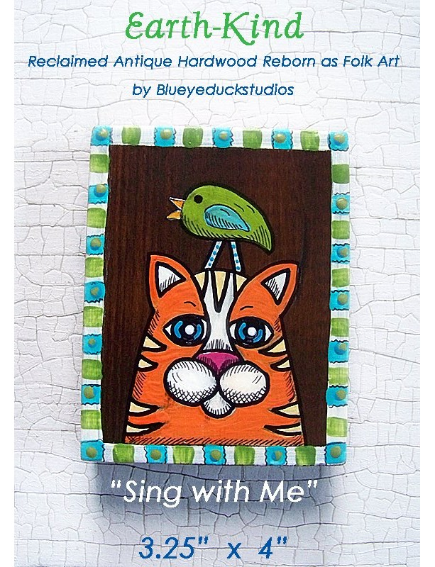 Folk Art Painted Cat and Bird on Reclaimed Antique Wood Block Original Painting