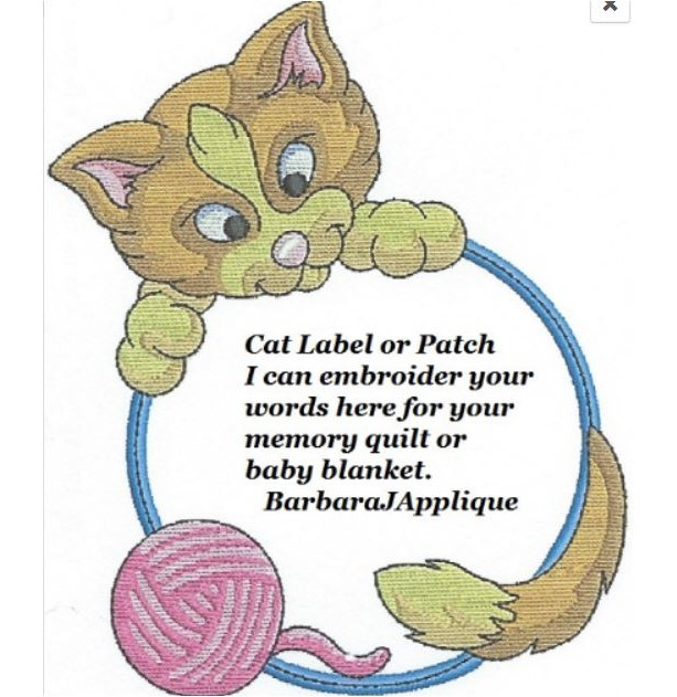 Cat Quilt Label - free shipping on labels