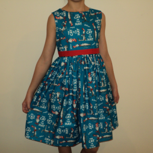 NEW Handmade Dr. Seuss The Cat In The Hat Blue Dress Custom Sz 12M-14Yrs