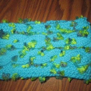 Hand Knit Headband/ Earmuff- Peonies