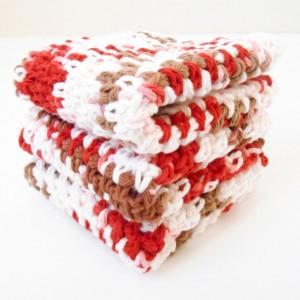 Crochet Cotton Dishcloths, Set of Three