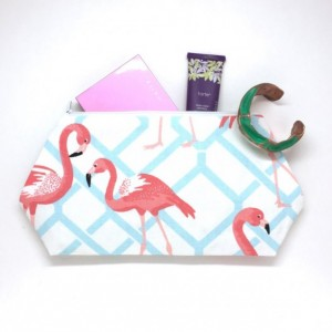 Flamingo Cosmetic Bag - Travel Bag, Large Cosmetic Bag, Nautical Fabric, Flamingo Fabric,  Makeup Bag, Flamingo Bag, Christmas Gift Ideas