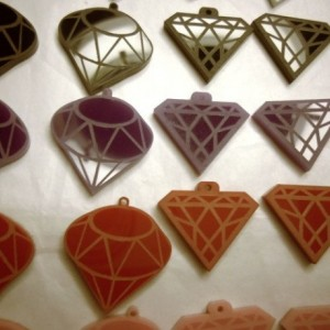 diamond charms, acrylic laser cut charms, acrylic diamonds