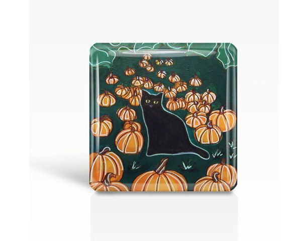 "Halloween Black Cat with Pumpkins - Glass MAGNET By Artist A.V.Apostle- 2""x 2"""