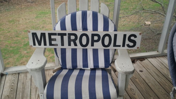 Metropolis wood sign raiload sign, vintatge hand painted wood sign art