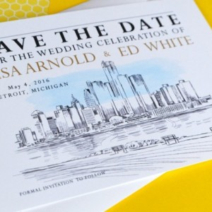 Detroit Skyline Watercolor Save the Date Cards (set of 25 cards)