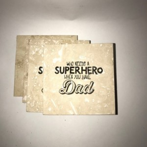 Custom Coasters-Non Stick Coasters-Personalized Coasters-Travertine Tile Coasters-Super Hero Dad Coasters-Barware-Gift Ideas-Housewarming