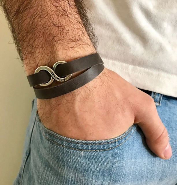 Men Bracelet Leather Infinity Jewelry Gift