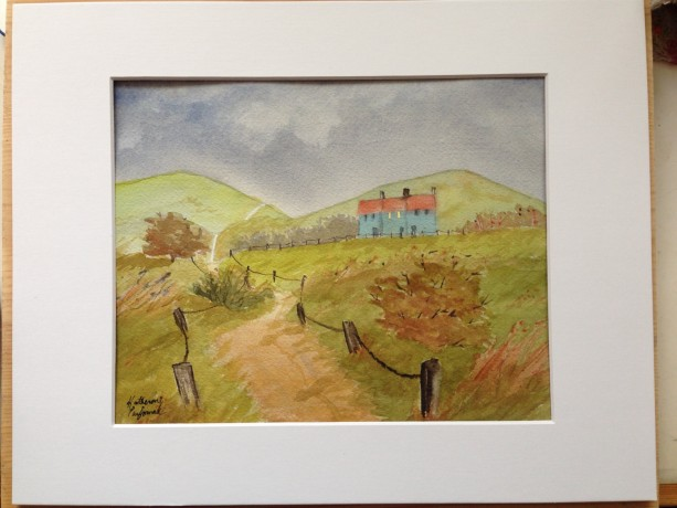 Original Watercolor Landscape, Cottages