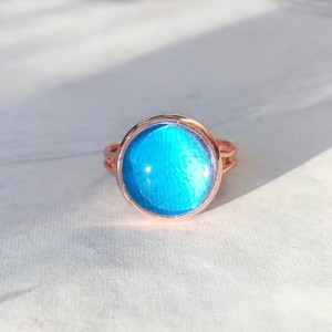 Real Butterfly Wing Ring - Real Butterfly Jewelry - Rose Gold Ring - Gift for Her - Blue Morpo Ring - Blue Morpho Jewelry - Metallic Blue