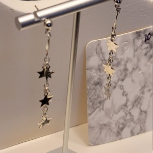 6 silver star earrings