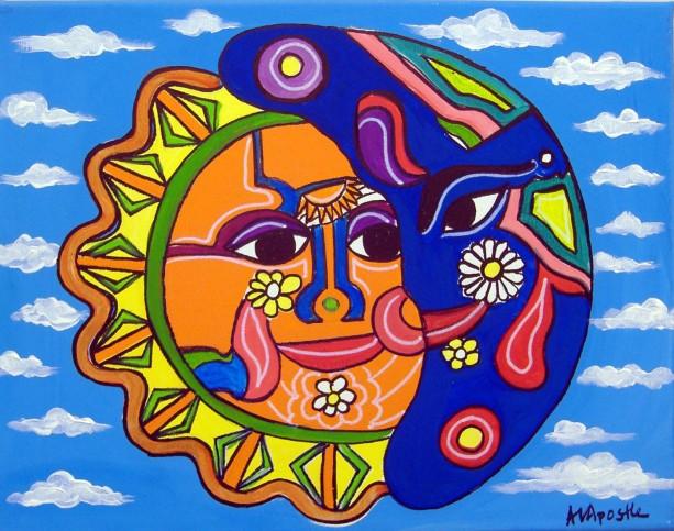 Mexican Folk Art - SUN & MOON - PRINT Signed By Artist A.V.Apostle