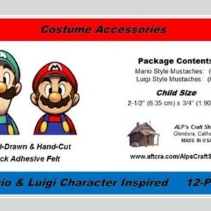 Mario & Luigi Character Inspired Child Size Fake Mustache 12-PAK