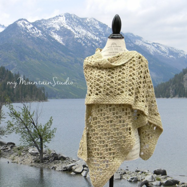 Ladies Lacy Wrap in Beige and Muted Green - Women's Handmade Shawl