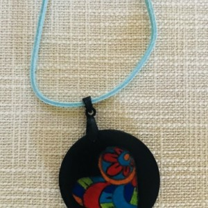Hand Sketched, Painted Heart Wooden Round Necklace