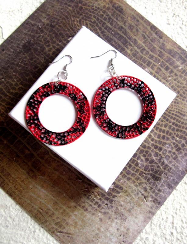 Big Hoop Earrings, Circle Earrings, Round Earrings, Disc Earrings, Statement Earrings, Red and Black Earrings, Urban Jewelry, Large Hoops