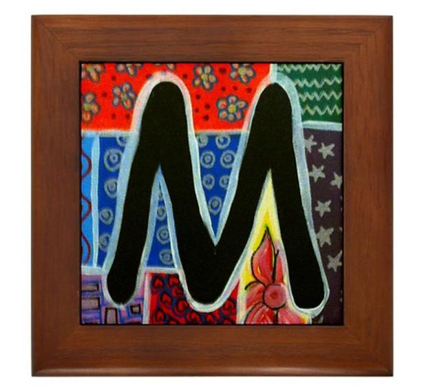 """Folk Art - Letter """"M"""" - FRAMED TILE By Artist A.V.Aposte"""