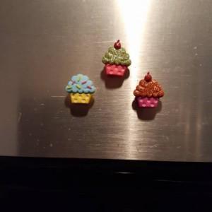 Magnets, 3 Strong Refrigerator Magnets, Cubicle Decor, Locker Magnets, Office Supply,Cupcake,Dessert,Glitter,Sprinkle