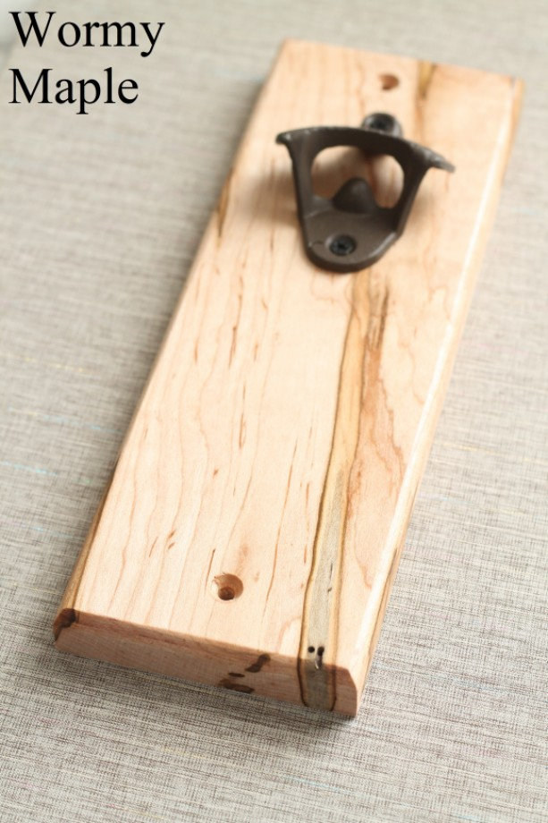 Wormy Maple Wall Mounted Bottle Opener