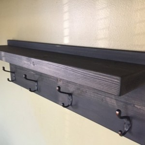 Rustic Design Wood Coat Rack - Oil Rubbed Bronze 4 hook - Ebony stain - Custom Finish Avail.
