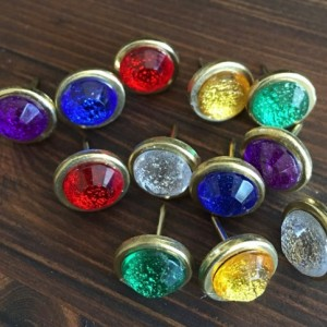 Glittery Gem Fall Pushpins (Set of 12), cork board, cubicle, office, thumbtacks,
