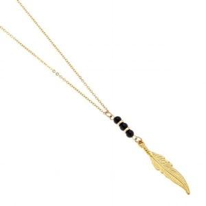 Men's Necklace - Men's Feather Necklace - Men's Beaded Necklace - Men's Gold Necklace - Men's Jewelry - Men's Gift - Boyfriend Gift - Male
