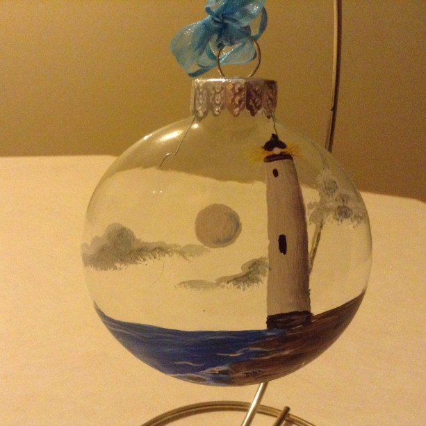 Ornament,  glass, lighthouse, white, with beach and water,hand painted