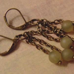 Matte Jade Beaded Antique Brass Drop Dangle Earrings