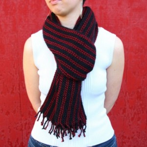 Black & Pink Striped Fringe Scarf