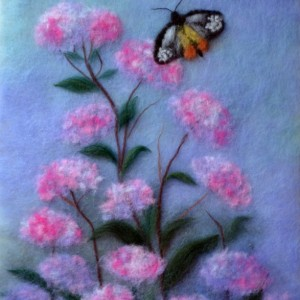 "Wool Painting ""Butterfly in flowers"""