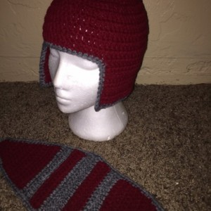 Knight Hat / knight Helmet / gray and burgundy