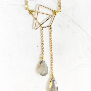 Geometric Necklace with Labradorite Drops - Gold Geometric Necklace - Triangle Necklace - Labradorite Necklace - Gemstone Necklace - Crystal