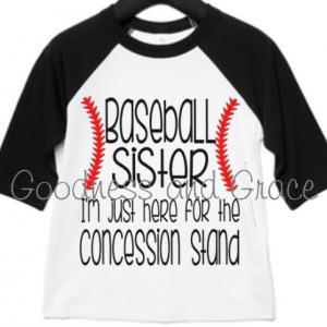 Concession Stand Baseball Sister Shirt - Baseball Sister Tee - I'm Just Here for the Concession Stand Baseball Raglan Tournament All Stars