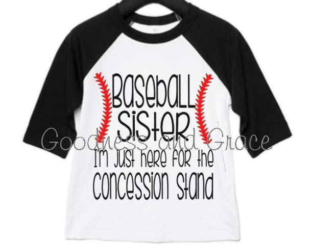 Concession Stand Baseball Sister Shirt - Baseball Sister Tee - I'm Just Here for the Concession Stand Baseball Raglan Tournament All Stars