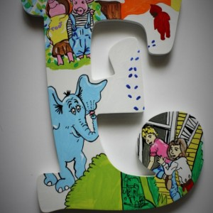 Book Letters -- Hand painted letters depicting a combination of your favorite literary characters in a bright, fun way! Price Per Letter