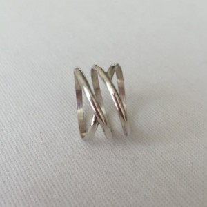 Double Infinity Ring in 925 Sterling Silver, Satin-Finished, Hand-forged and Made-to-Order for You
