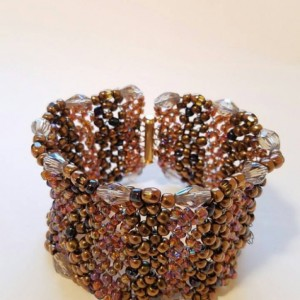Elegant Handwoven Crystal and Beaded Cuff