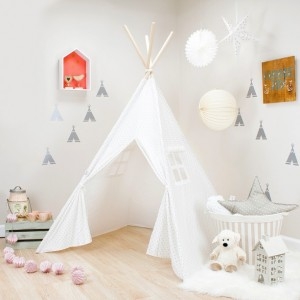 White with Gray Mini Stars Kids Teepee