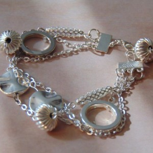 Multi Strand Various Silver Beaded Linked With Chains Bracelet