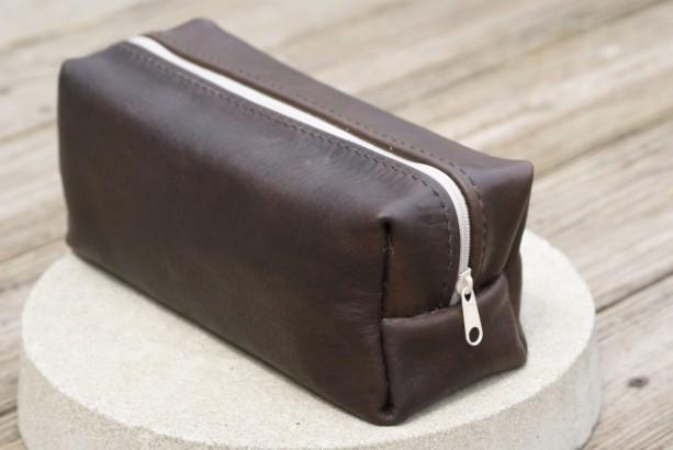 Leather Toiletry Case Travel Bag Dopp Kit Men S
