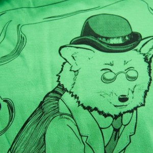 SALE Dapper Red Fox Gentleman Screen Printed T-Shirt, Grass Green, Unisex, Men, Women, Made in USA, Last Ones