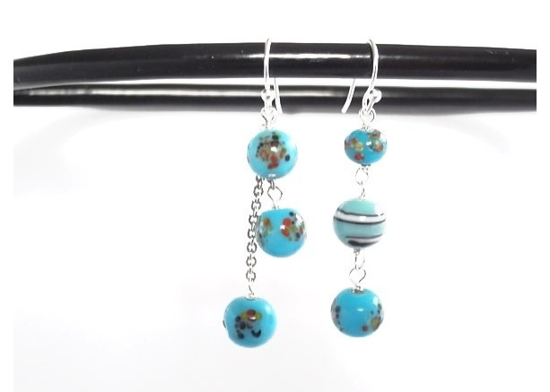 Earrings Blue and Aqua Color Lampwork Beads Handmade Drop Dangle Summer Glass Beads Silver Plated Resort Sea Beach Jewelry Accessory