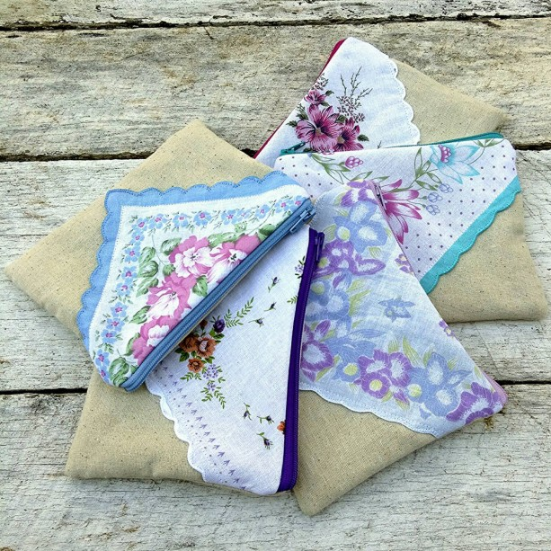 Faux envelope rectangular hanky  zipper pouch