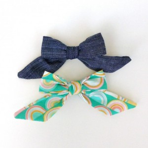 Junebug bow set -- little girl bows, bows for little girls, fabric bows, baby girl bows, chambray, ponytail bows, schoolgirl bows
