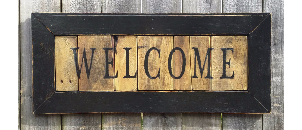 Large Rustic Reclaimed Wooden Welcome Sign Handmade Hand Painted
