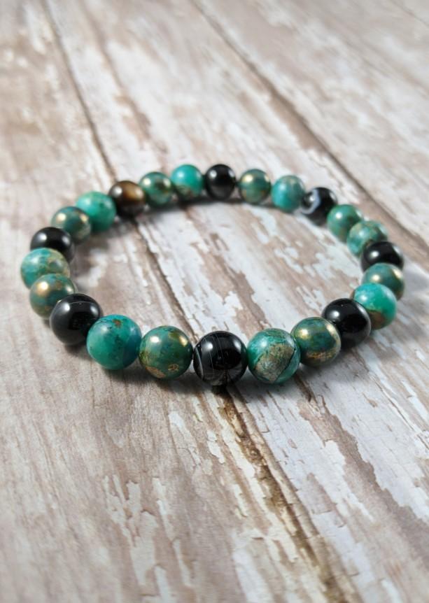 The Jace | handmade green beaded stretch bracelet, black striped agate, snake skin jasper, Czech glass beads, men's / unisex, Gifts for Him