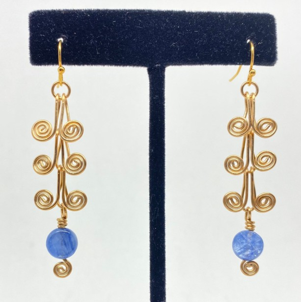 Blue kyanite layered scroll earrings